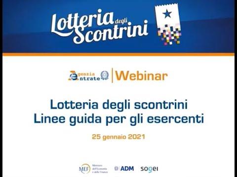Lotteria degli scontrini - Webinar 25.01.2021 - Linee guida per gli esercenti