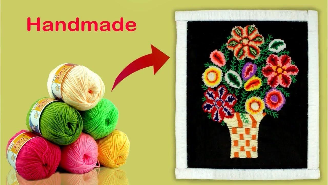 Wall Art Frame From Woolen || Woolen Flower || Handmade Wall ...