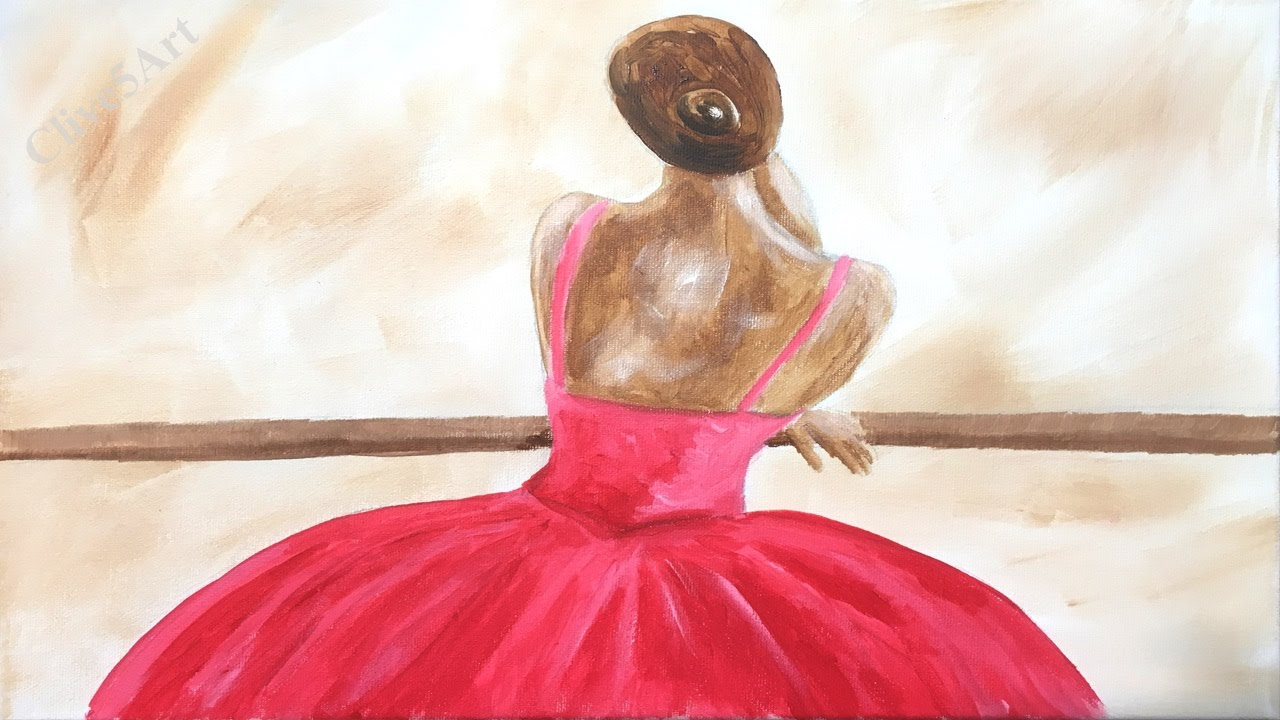 Ballerina impressionist acrylic painting on canvas for for Simple paintings to draw