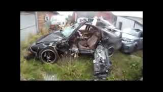 Crazy ass driver Blows Stop sign  . Rollover   and 2 car head on