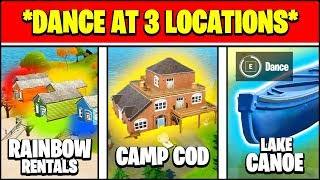 DANCE AT LAKE CANOE, CAMP COD, AND RAINBOW RENTALS LOCATIONS (Fortnite Season 2 Week 6)
