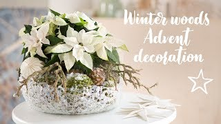 DIY: Winter woods Advent decoration with poinsettia