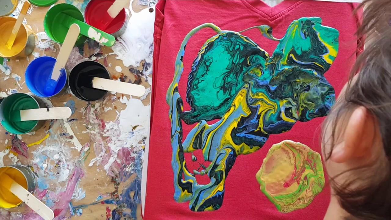 086 Acrylic Pour On Tshirt Using Decorart Fabric Medium