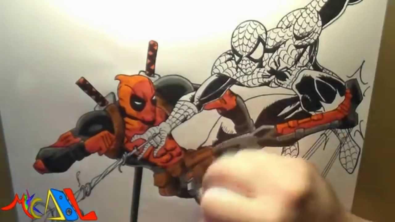 Dibujando A Spiderman Vs Deadpool Youtube