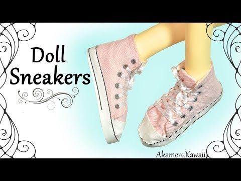 How to: Cute Doll Sneakers - DIY BJD / Barbie Shoe Tutorial