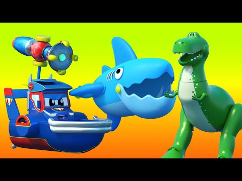 Truck videos for kids -  TOY STORY DINOSAUR : Super Boat CHASES a SHARK! Super Truck in Car City !