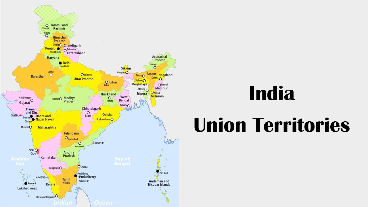 7 union territories of india in map India Union Territories Youtube 7 union territories of india in map