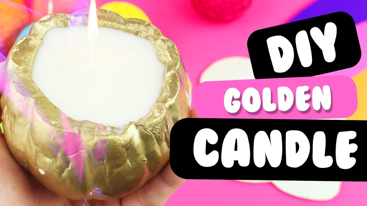 GORGEOUS DIY GOLDEN Fall Candle | WINNER HALLOWEEN GIVEAWAY! Como Hacer Una  Vela Aromatica Cacera