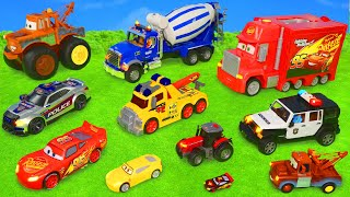 Tractor, Excavator, Fire Truck, Tractor, Excavator, Disney Cars - Lightning McQueen Toy Vehicles