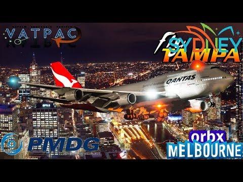 PMDG 747-400 Vatpac Milkrun YSSY - YMML. Qantas positioning flight.