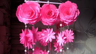 DIY. Wind Chime with Beautiful Paper Roses. Newspaper Craft Wall Hanging.  Декор для дома. w10