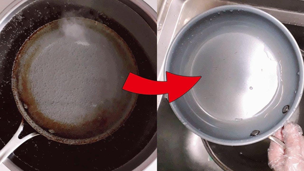 프라이팬 찌든 기름때 제거 방법 How to Clean a Burnt Pot or Pan-[포인트팁]