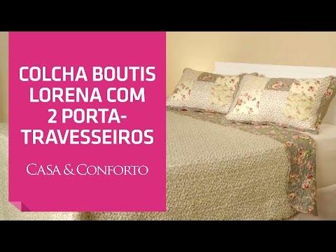 Colcha Boutis Lorena com 2 Porta Travesseiros Casa & Conforto | Shoptime