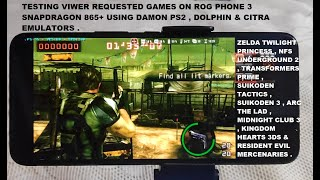 Snapdragon 865+ Damon PS2/Dolphin/Citra Android Emulator Test Multiple Gameplay Viewer Request Rog 3