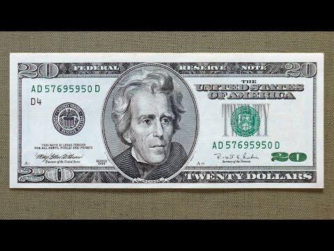 20 US Dollars Banknote (Twenty Dollars USA: 1996) Obverse & Reverse