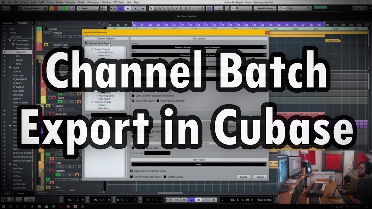Channel Batch Export in Cubase