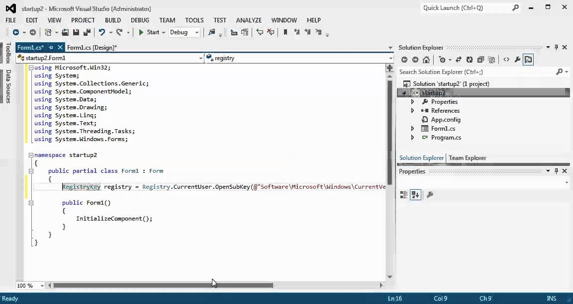 how to start c# app win form application with windows's start up ...
