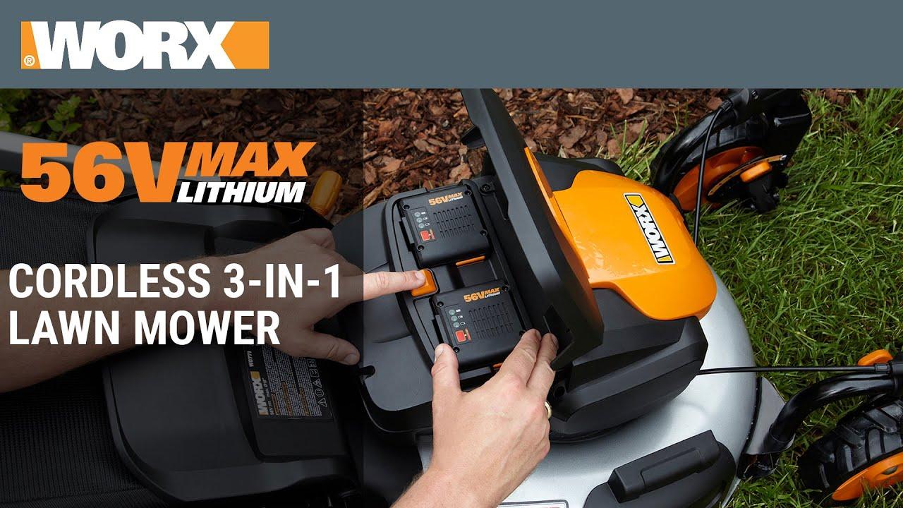 WORX 56V MaxLithium Cordless 3 in 1 Lawn Mower
