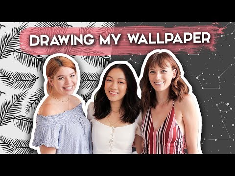 Drawing Wallpaper for my Apartment! ft. TheSorryGirls   DIY Seamless Pattern Designs