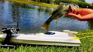 RC Boat Fishing Challenge! It Actually Catches Fish!