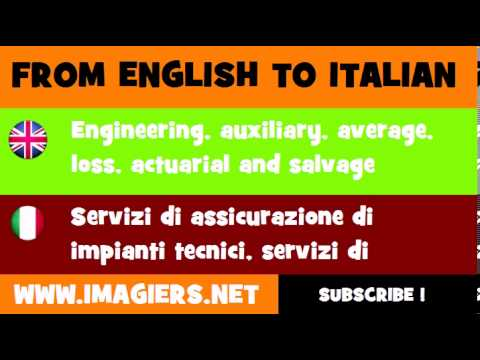 How to say Engineering, auxiliary, average, loss, actuarial and salvage insurance services in Italia