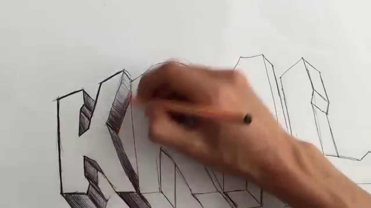 En basitinden graffiti yapımı şekilli yazı yazmak youtube