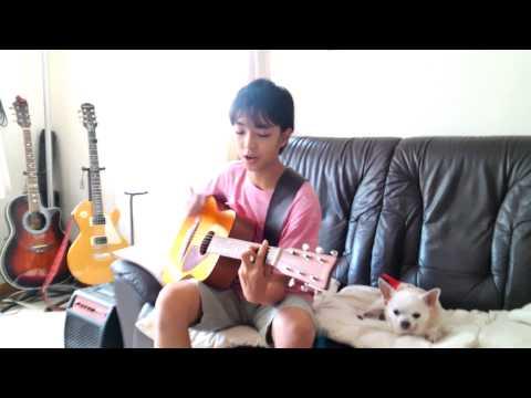 小学生ギター弾き語り スタンドバイミー キング アコギ練習とチワワ犬
