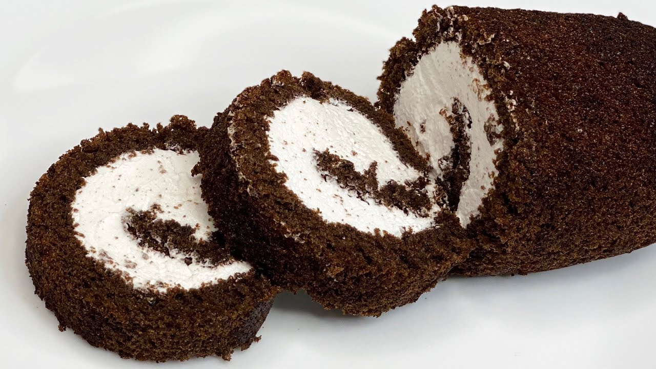 Chocolate Swiss Roll in Fry Pan | Swiss Roll Cake Without Oven | Roll Cake Recipe