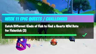 Catch Different Kinds of Fish to Find a Hearts Wild Date for Fishstick - Fortnite Week 11 Challenges