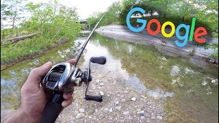 Google Maps URBAN Creek Fishing CHALLENGE!