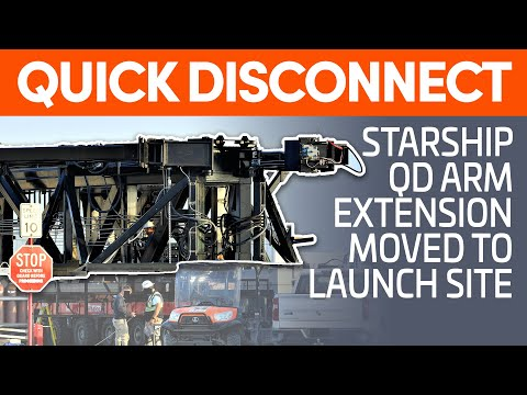 Starship Quick Disconnect Arm Moved to Launch Site | SpaceX Boca Chica