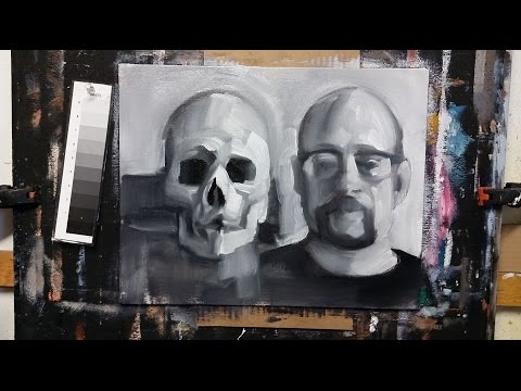 Painting and Proportions of the Head and Skull in Black and White Oil Paint
