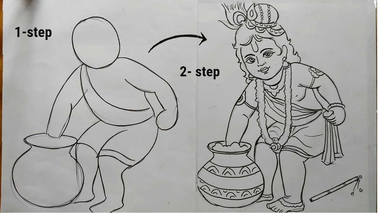 Very Easy Lin Art Bal Krishna For Rash Yatra Krishna Thakur Drawing How To Draw Lord Krishna Youtube