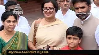 MP Sumalatha ambareesh receives warm welcome at Delhi