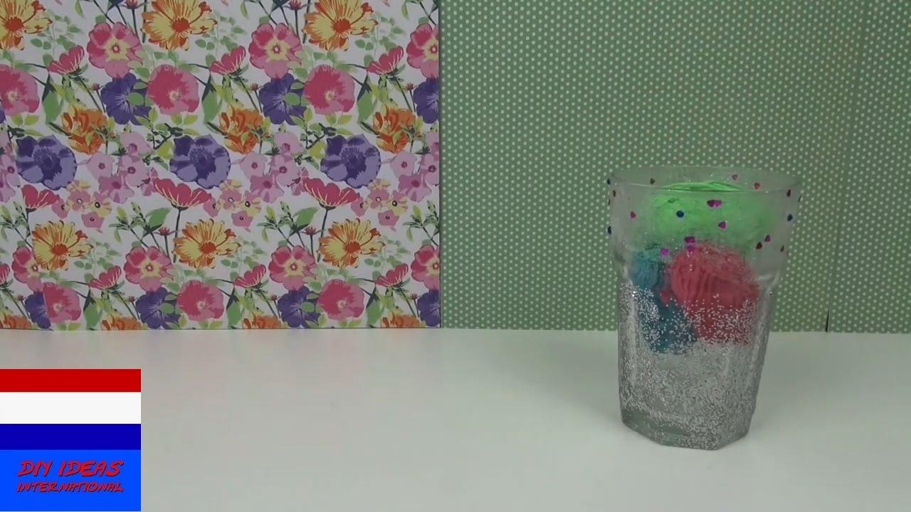Diy decoratie voor je kamer glas met glitter voor op je bureau pennenhouder leuk cadeau - Decoratie volwassen kamer zen ...