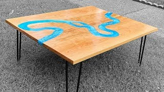 River Coffee Table - With limited tools - Modern resin coffee table with hairpin legs