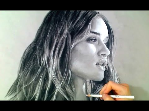 Rosie Huntington - Toned paper in charcoal Art Drawing Video - See description for my Art Tools