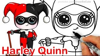How to Draw Chibi Harley Quinn step by step Cute DC comics Villain