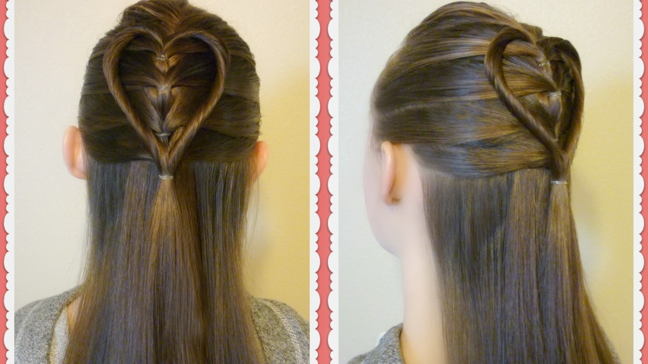 Hair Styles For Picture Day: Elastic Braid Twist Heart Hairstyle Tutorial For Valentine