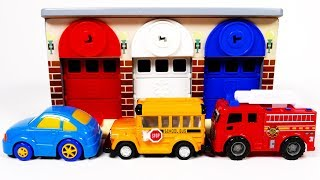 Garage Parking Playset for Children Learn Colors with Toy Car Vehicles