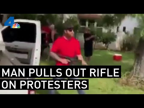 Man Pulls Assault Rifle On Protesters In Upland Area | NBCLA