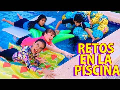 RETOS EN LA PISCINA CON INFLABLES Y PELOTAS | TV Ana Emilia
