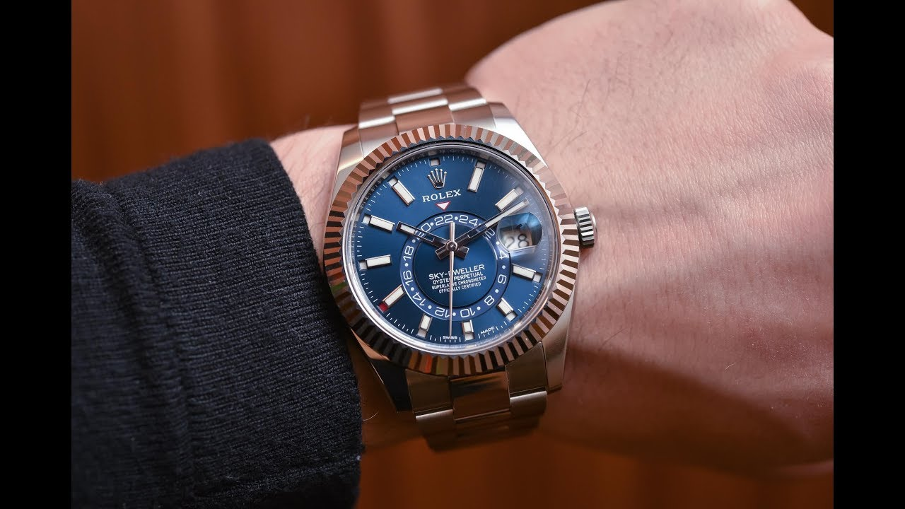 Rolex Sky,Dweller 326934 Blue dial 42 mm Rolesor steel and white gold  luxury watch shining on wrist