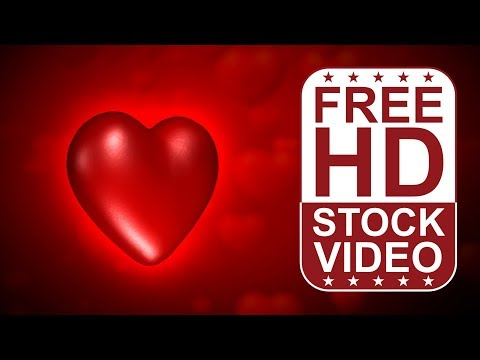 FREE HD video backgrounds –  abstract animated 3D red heart pumping pulsing moving slowly