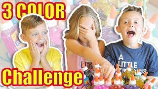 3 COLORS OF GLUE SLIME CHALLENGE!!!  Kids Fun TV