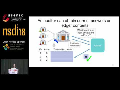 NSDI '18 - zkLedger: Privacy-Preserving Auditing for Distributed Ledgers