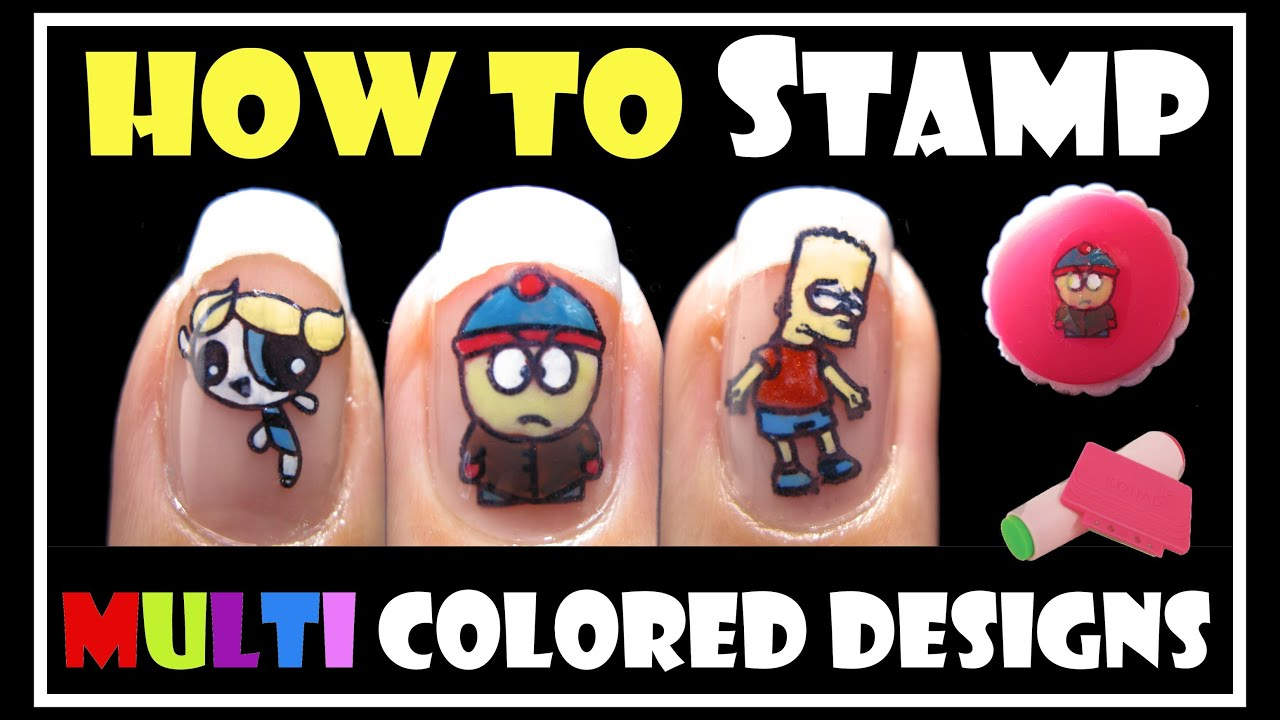 HOW TO STAMP MULTI COLORED DESIGNS | KONAD STAMPING NAIL ART ...