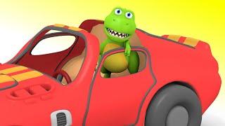 Dinosaurs for children - Baby T-Rex and Monster Trucks Song - Dinausaurs Cartoons for chrildren