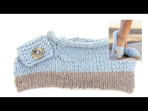 How to knit the felted slippers in DROPS 161-37