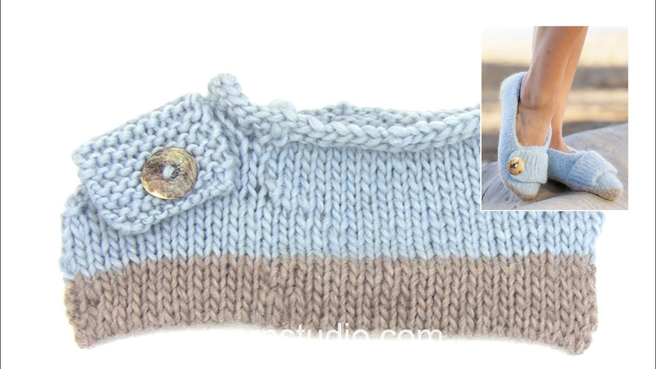How to knit the felted slippers in DROPS 161-37 - YouTube